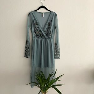 Teal Blue Midi Embroidered Floral Boho Dress
